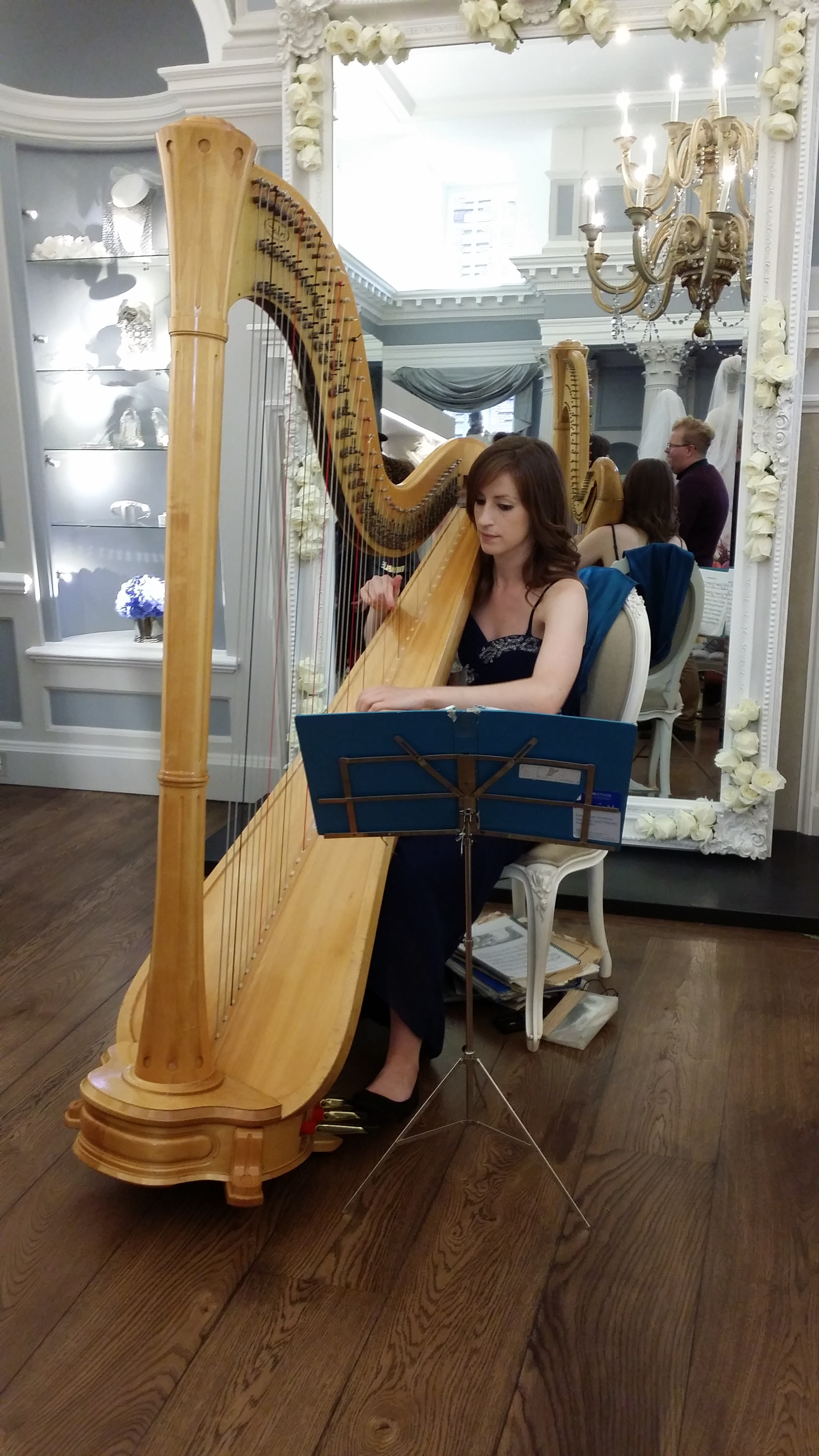 Harpist at Ian Stuart Showroom