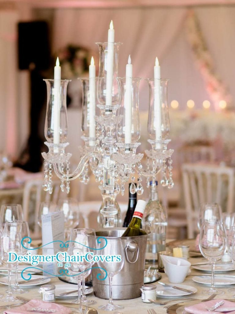 Crystal candelabra with flickering candles